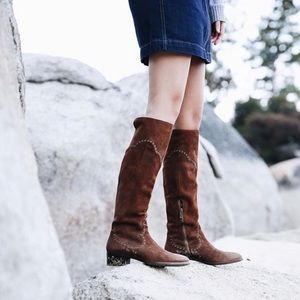Frye Ray Grommet Tall Brown Boots Wood Suede